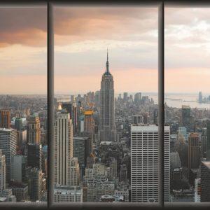 Nowy Jork widok przez okno